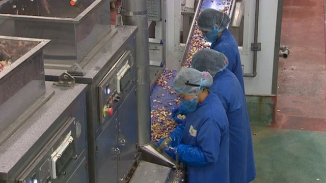 Workers on a food production line in Brecon, Powys