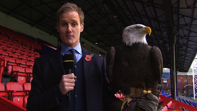 Dan Walker and Kayla the Crystal Palace eagle