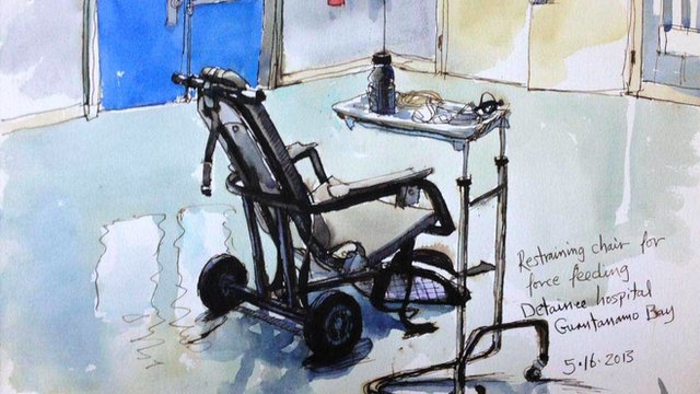 Watercolour panting of Guantanamo Bay restraining chair