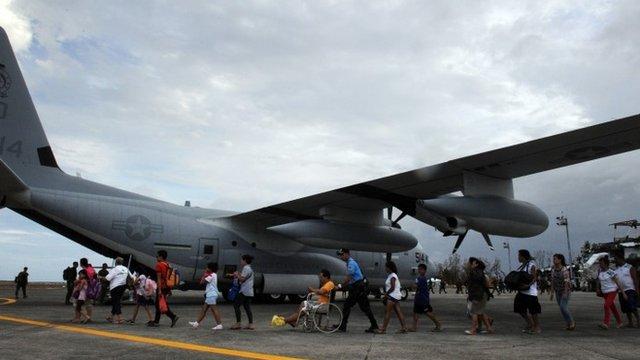 Survivors of Super Typhoon Haiyan board plane