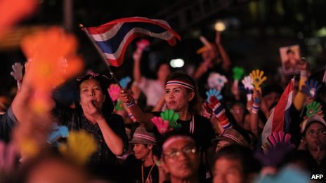 Thai opposition protesters rally in front of Democracy Monument in Bangkok on 11 November