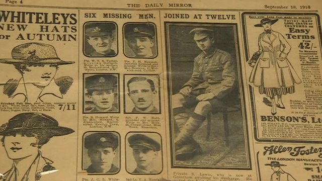A newspaper report in the Mirror in 1916 confirming Sidney Lewis was 12-years-old when he enlisted in World War One.