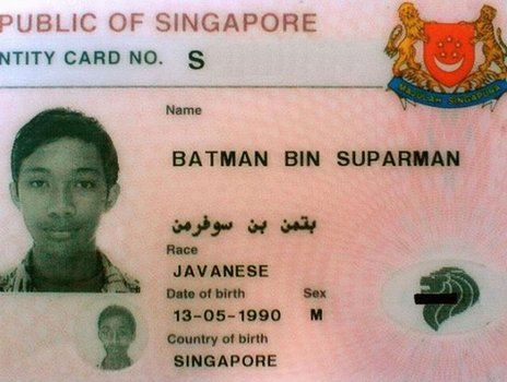 ID card of a man called Batman Bin Suparman