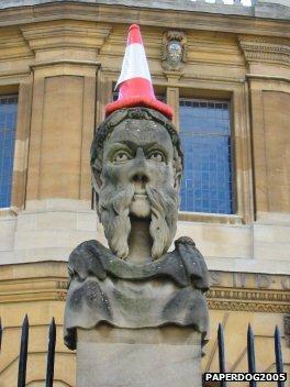 Cone on statue