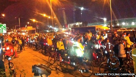 Cyclists gathered at Bow Roundabout for vigil