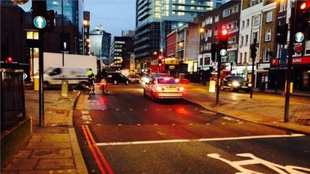 The scene of the crash in Whitechapel Road