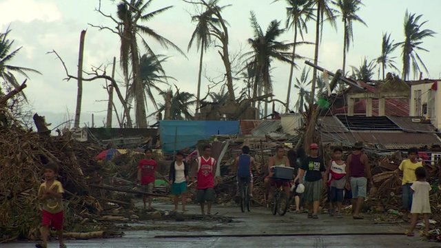 Devastated street in the Philippines