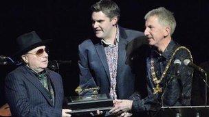Van Morrison with Gavin Robinson and Máirtin Ó Muilleoir