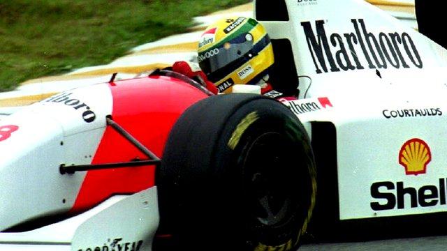 Home hero Ayrton Senna drives for McLaren in the 1993 Brazilian Grand Prix at Interlagos