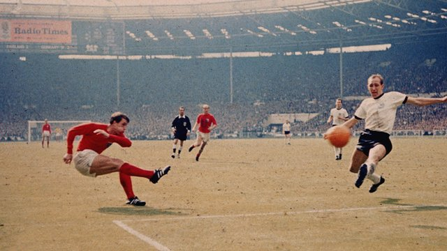 Geoff Hurst scores his second goal against West Germany in 1966