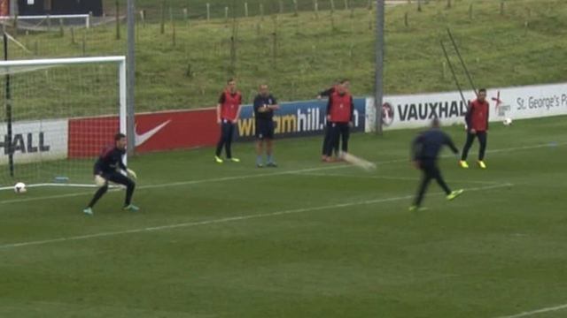Ravel Morrison scores an incredible volley in training for England U21s