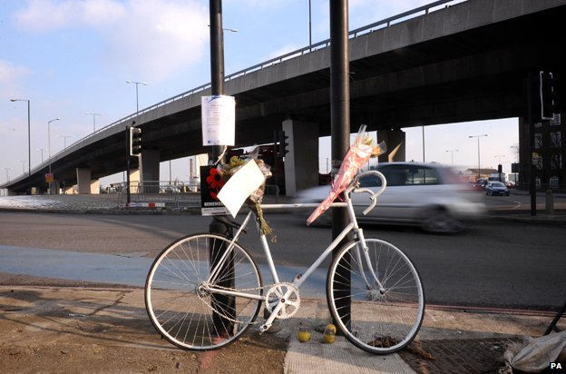 """""""ghost cycle"""" tribute at Bow roundabout"""