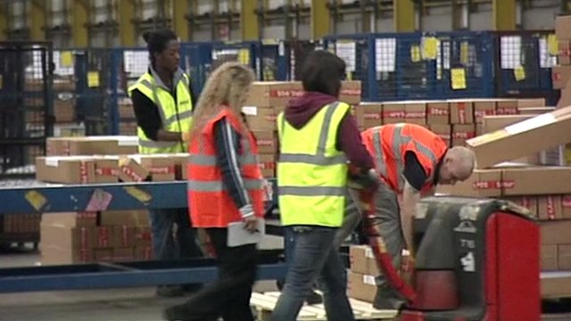 People sorting parcels