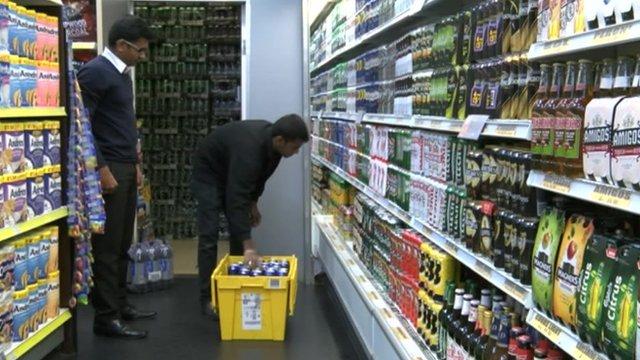 Drinks being taken off shelves