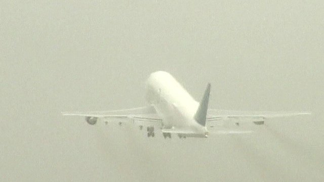 The airborne Boeing 747 Dreamlifter cargo plane