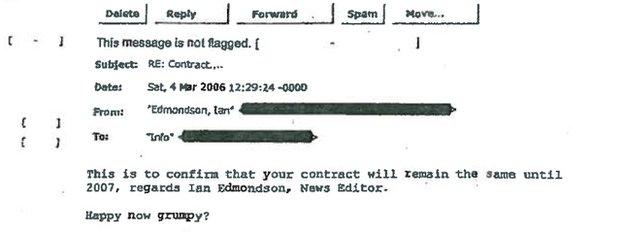 Ian Edmondson and Glenn Mulcaire conversation in an email