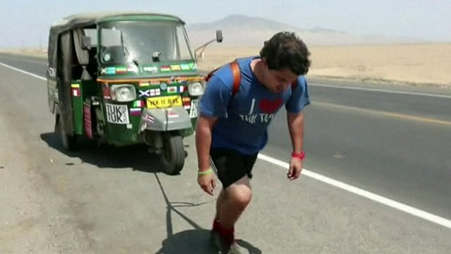 Richard Sears pulling tuk tuk