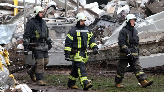 Latvia supermarket remains demolished after collapse - BBC News