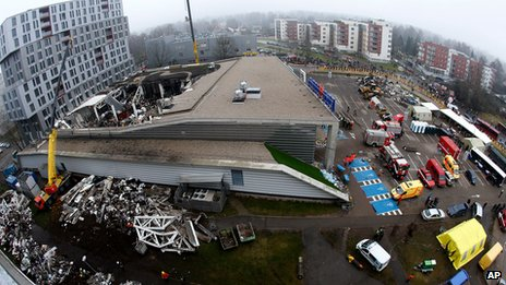 Wide angled view of the site of the collapsed supermarket in Riga on 23 November 2013