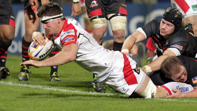 Ulster captain Robbie Diack scores a try against Edinburgh at Ravenhill