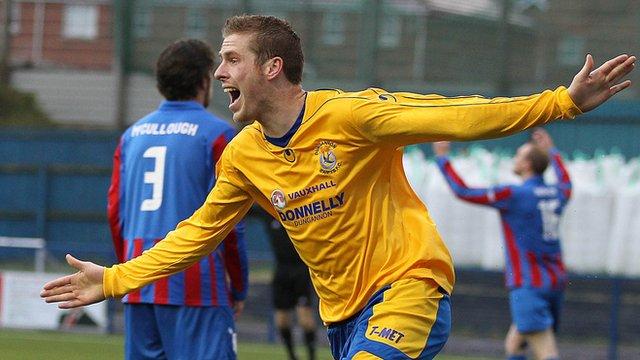 Darren Boyce celebrates scoring against Ards
