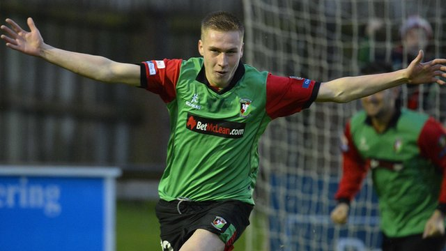 Calum Birney opens the scoring for Glentoran against Ballinamallard