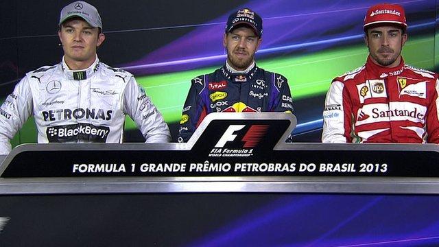 Nico Rosberg, Sebastian Vettel and Fernando Alonso