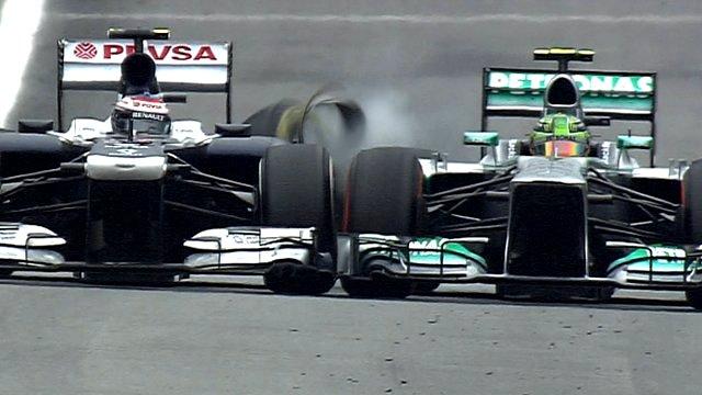 Lewis Hamilton collides with Vatteri Bottas at the Brazilian Grand Prix.