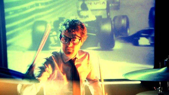 Public Service Broadcasting drummer 'Wrigglesworth' performs the 2013 BBC F1 season's closing credits