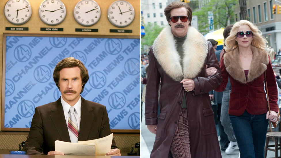 Will Ferrell as Ron Burgundy and (right) with Christina Applegate as Veronica Corningstone in Anchorman 2: The Legend Continues