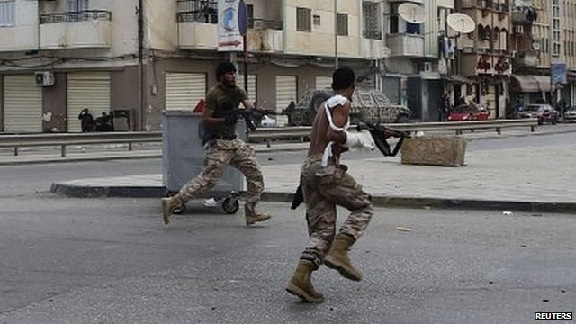 Libyan army soldier on streets of Benghazi