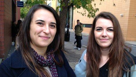 Madalina Munteanu, 23 (left) and Zoe Fenne-Bavis, 19