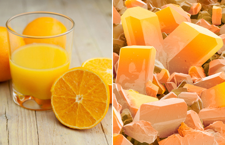 Orange juice and E300 crystals. Photographs by: Thinkstock and Science Photo Library