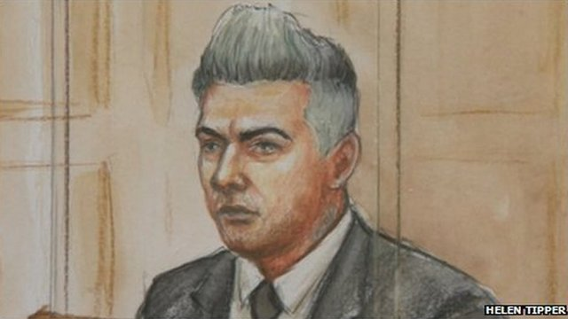 Artist's impression of Ian Watkins in court