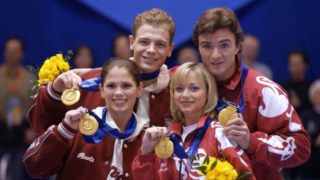Canada's Jamie Salé and David Pelletier and Elena Berezhnaya and Anton Sikharulidze of Russia (L-R)