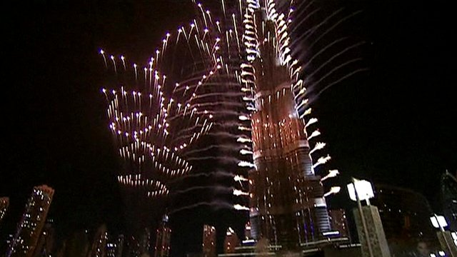 Fireworks around the Burj Khalifa