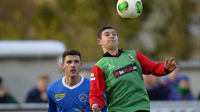 Jordan Stewart in action for Glentoran against Ballinamallard