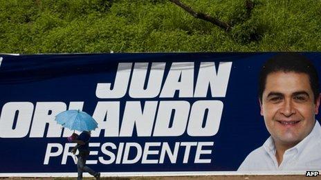 A banner of the Honduran presidential candidate Juan Orlando Hernandez