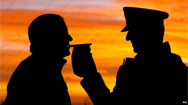 Police giving driver a breathalyser test