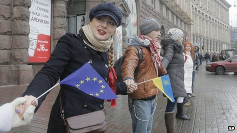 People form a human chain in protest against the failure to sign an association agreement with the EU in Kiev (29 November 2013)