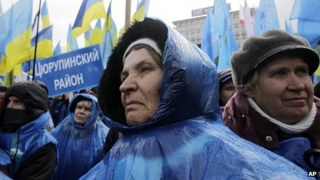 Supporters of President Yanukovych in Kiev (29 November 2013)