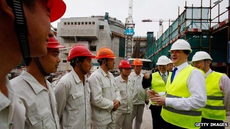 George Osborne with Chinese nuclear workers in Taishan