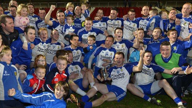 Ballinderry Shamrocks celebrate winning the Ulster Club Football Championship