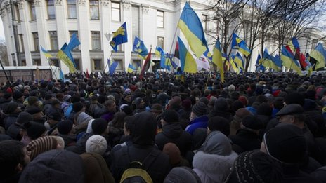 Protesters rally in front of the parliament in Kiev on 3 December.