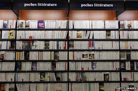 Bookshelf in French store