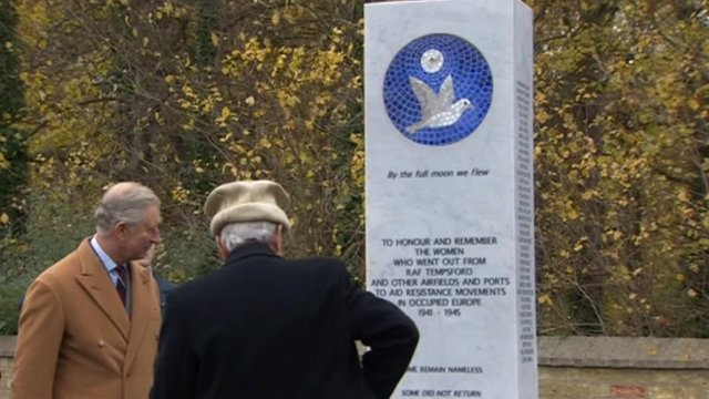 Prince Charles unveils Tempsford memorial
