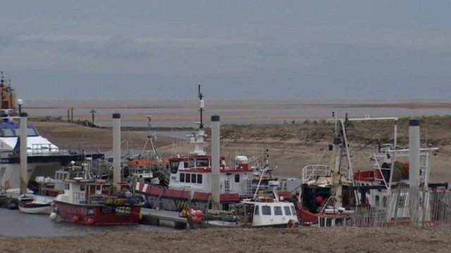 Fishing boats moved to the outer harbour at Wells-next-the-Sea