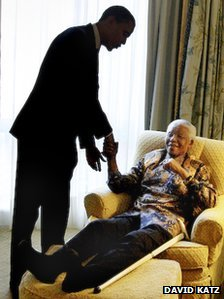 Barack Obama met Nelson Mandela in 2005 (Photo by David Katz)