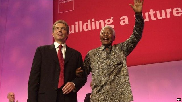 Tony Blair and Nelson Mandela at the Labour Party conference