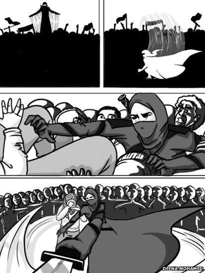 Scene from comic strip featuring Qahera